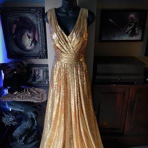 Gold Sequin V-Neck Long Formal Dress